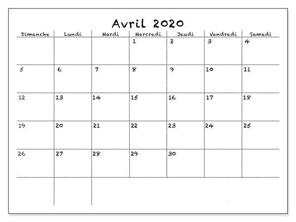 Calendrier Avril 2020 Table