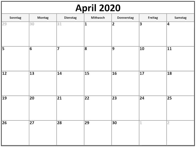 Drucken Kalender 2020 April