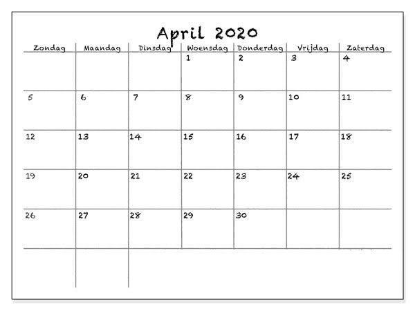 Frei Kalender 2020 April