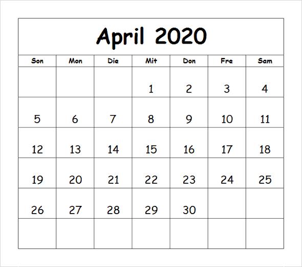 Frei Kalender April 2020 Zum Ausdrucken