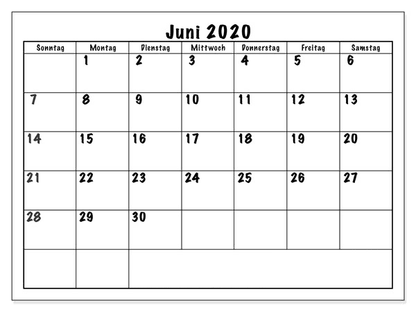 Frei Kalender Juni 2020 Zum Ausdrucken