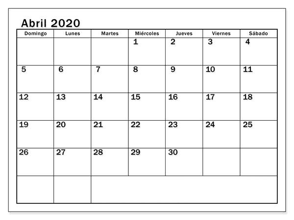 Gratis Calendario Abril 2020 Argentina