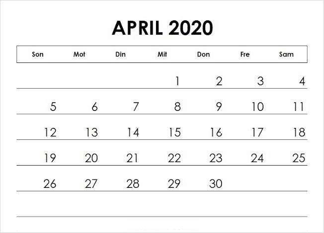 Kalender 2020 April Blatt