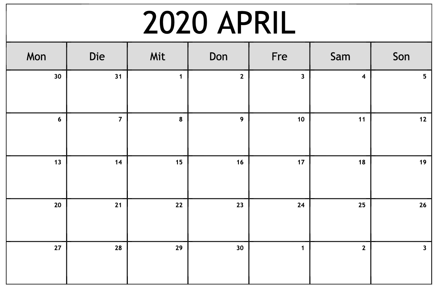 Kalender 2020 April