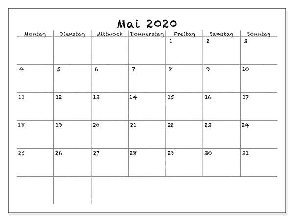 Kalender 2020 Mai Drucken