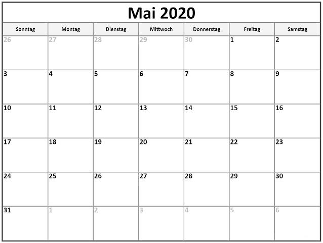 Kalender 2020 Mai Frei