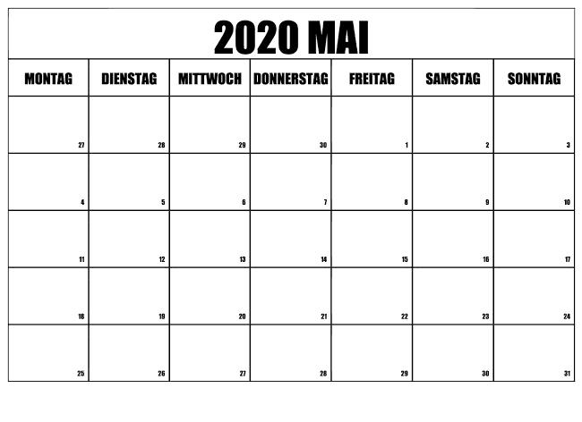 Kalender 2020 Mai Stile