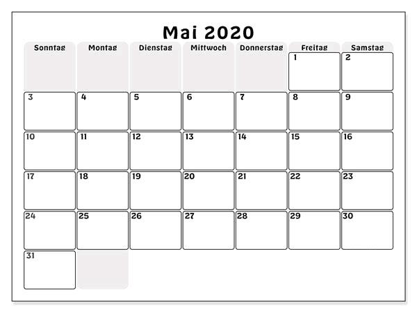 Kalender 2020 Mai Tabelle
