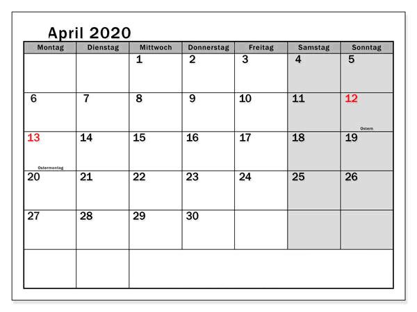 Kalender April 2020 Belgien