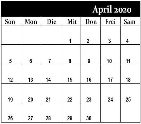 Kalender April 2020 Mit Feiertagen Stile