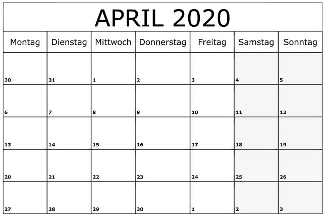 Kalender April 2020 Mit Feiertagen Zeitplan