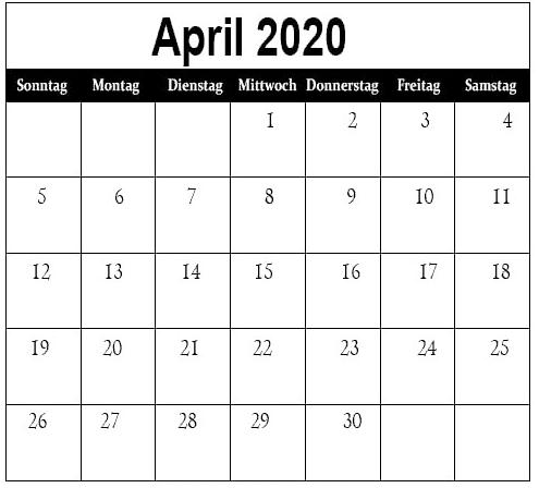 Kalender April 2020 Mit Feiertagen