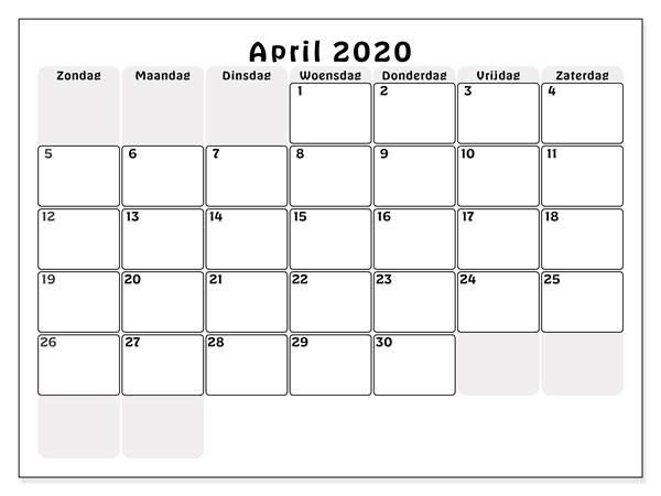 Kalender April 2020 Tabelle