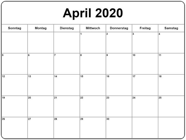 Kalender April 2020 Zum Ausdrucken Notizen