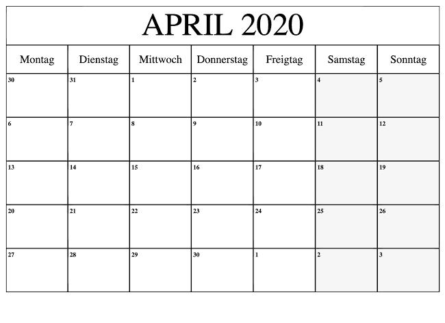 Kalender April 2020 Zum Ausdrucken Tabelle