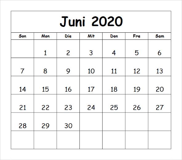 Kalender Juni 2020 Bild