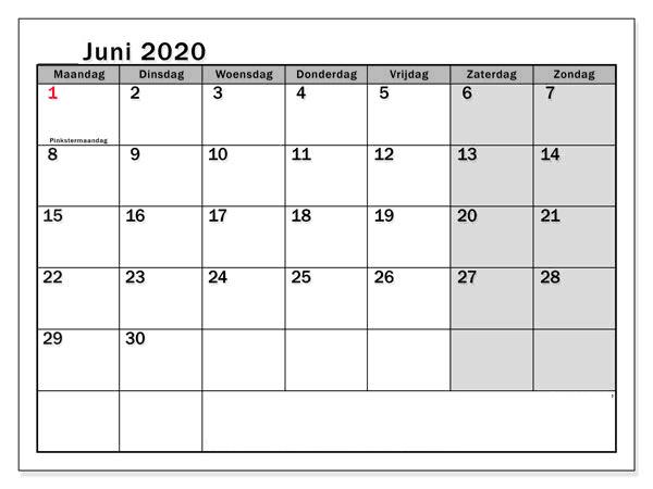 Kalender Juni 2020 Monats