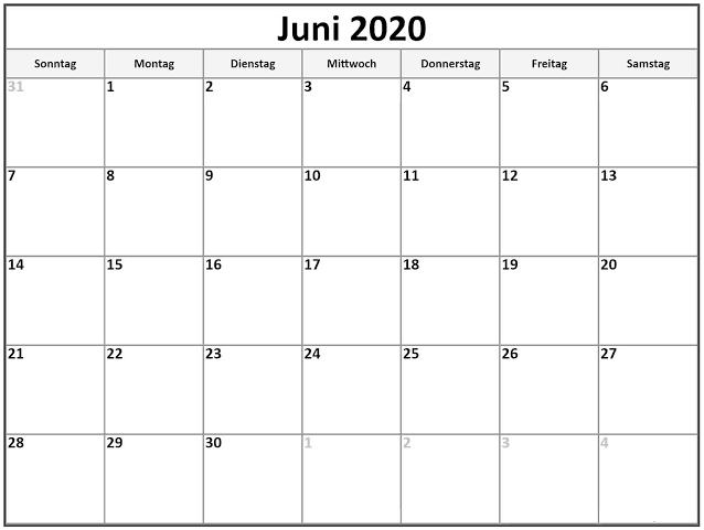 Kalender Juni 2020 Zum Ausdrucken Monatlich