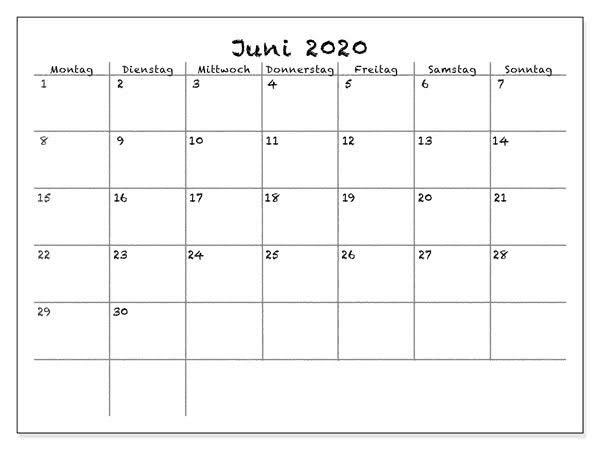 Kalender Juni 2020 Zum Ausdrucken