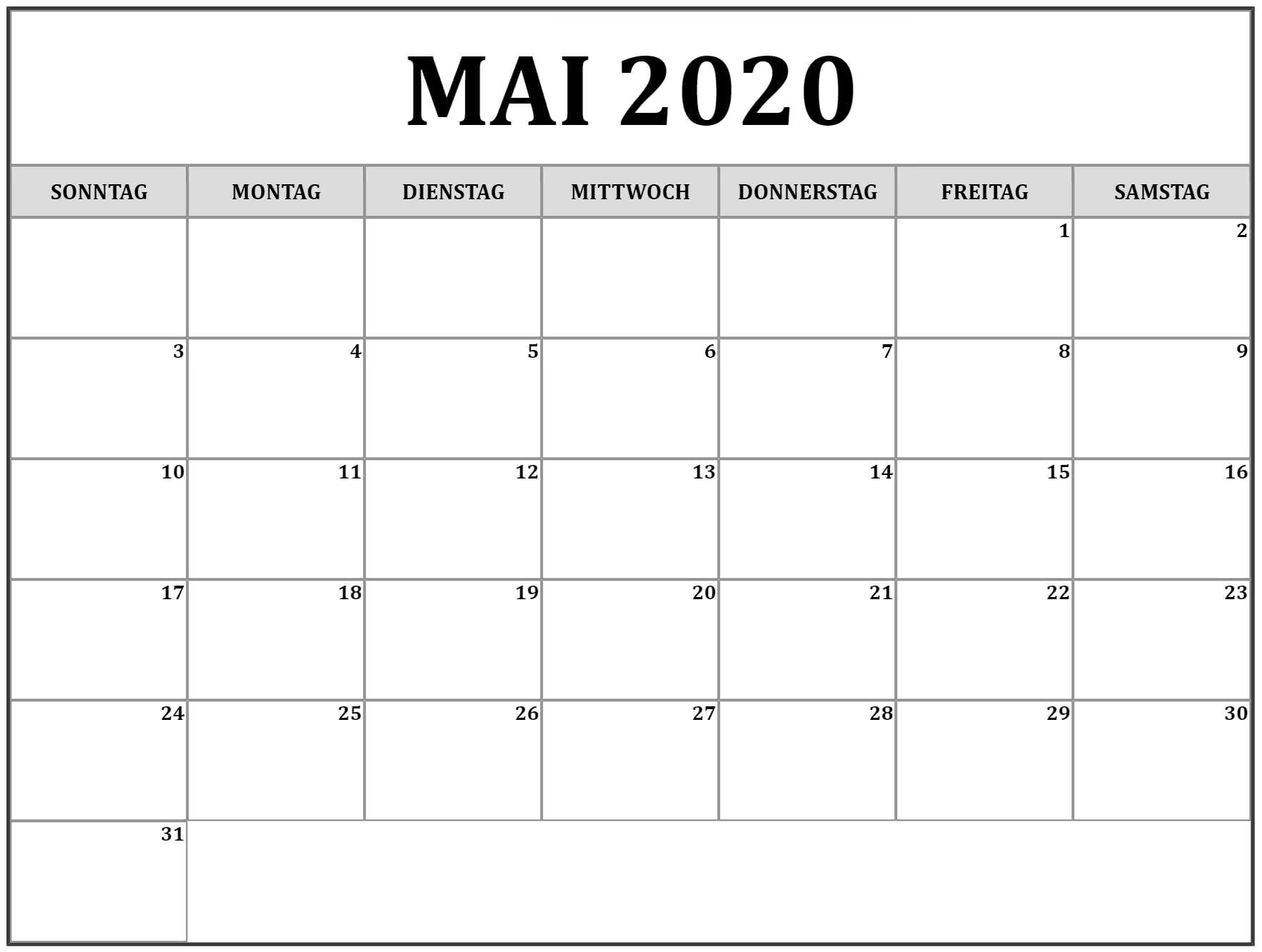 Kalender Mai 2020 Bild