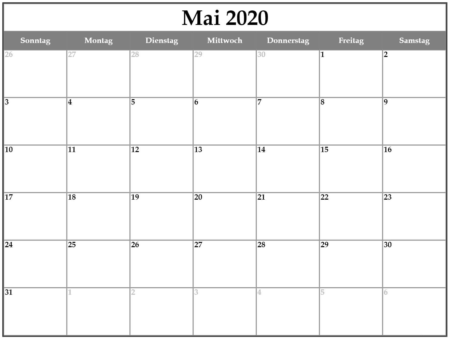 Kalender Mai 2020 Frei