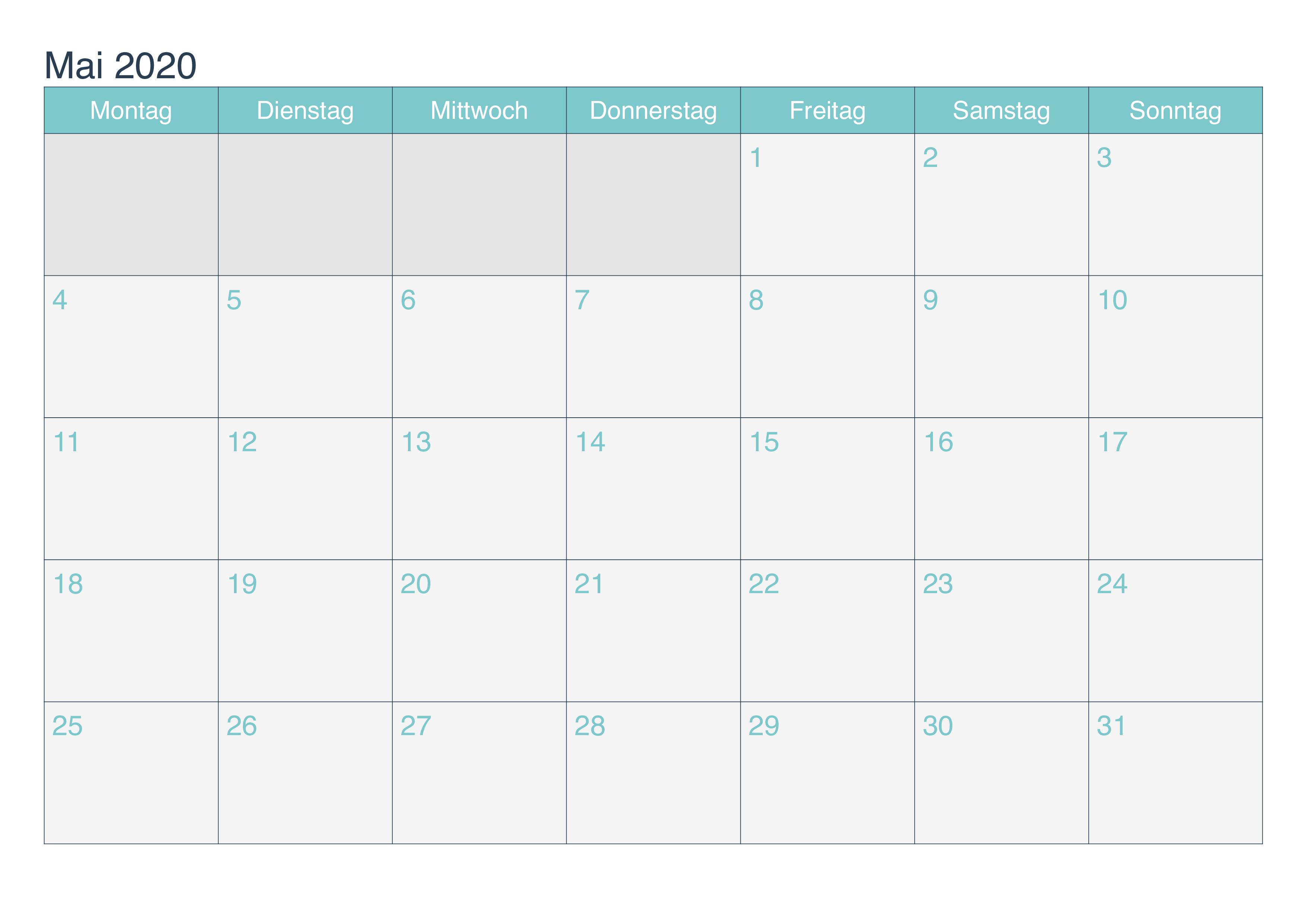 Kalender Mai 2020 Mit Feiertagen Frei