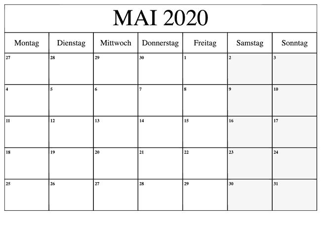 Kalender Mai 2020 Mit Feiertagen Stile