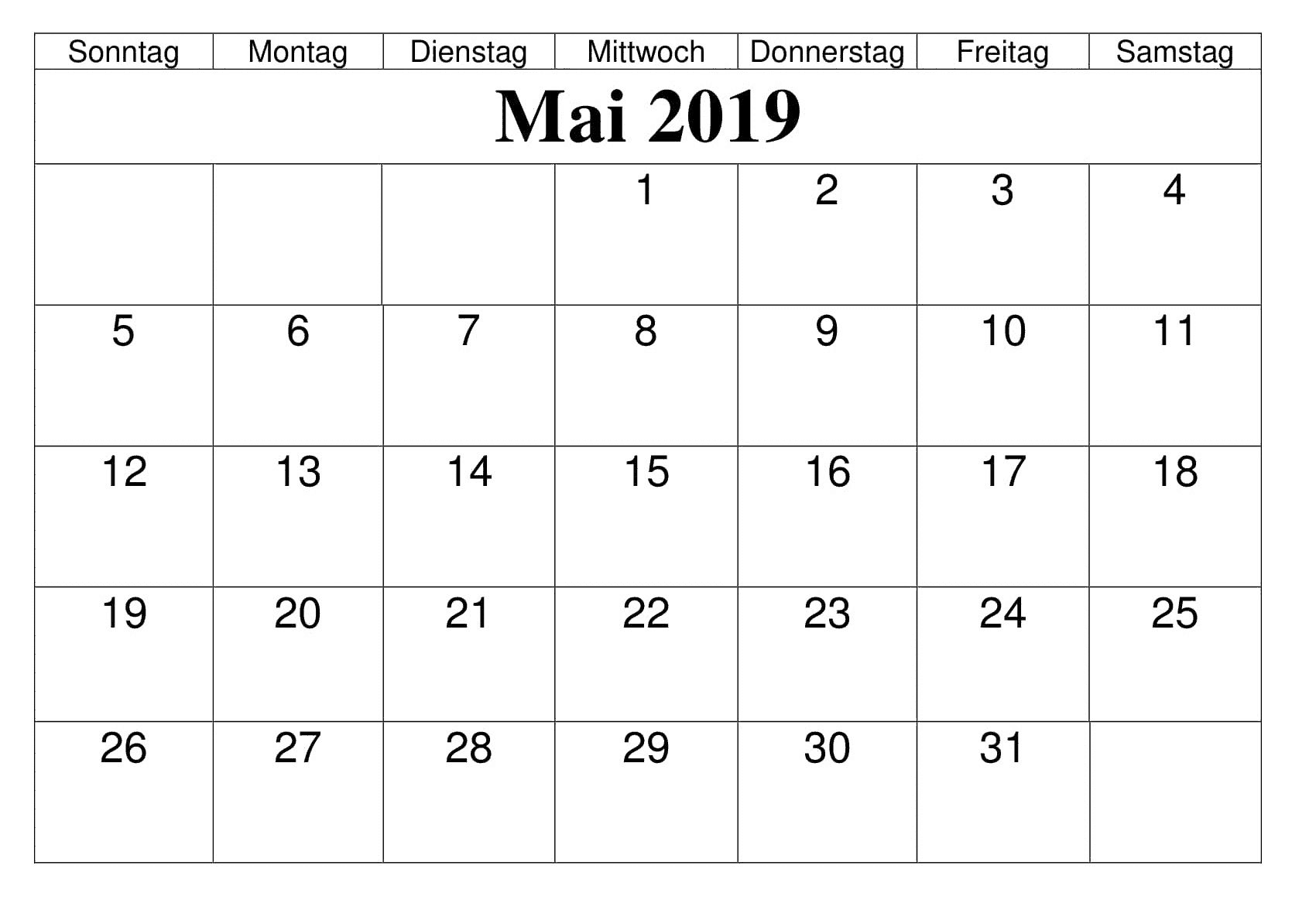 Kalender Mai 2020 Mit Feiertagen