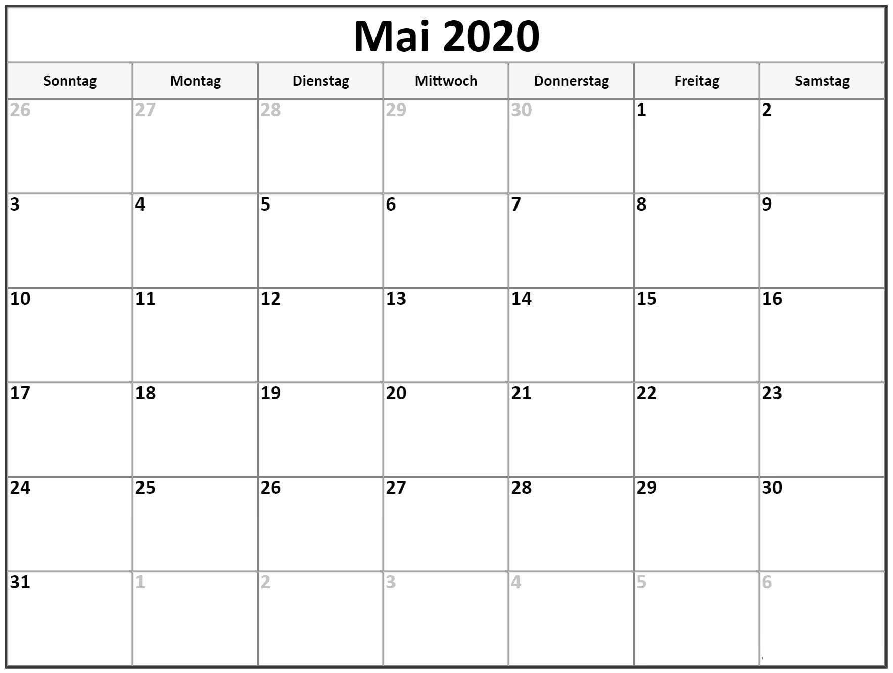 Kalender Mai 2020 Monatlich