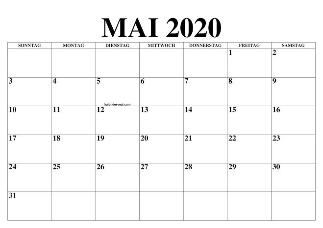 Kalender Mai 2020 Zum Ausdrucken Diagramm