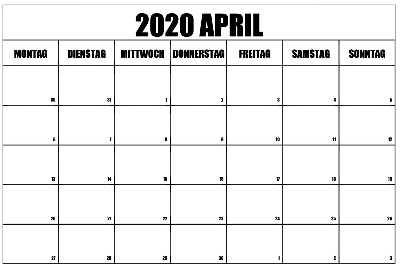 Kostenlos Zum Ausdrucken April 2020 Kalender