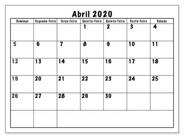 Livre Calendário Gratuito Abril 2020