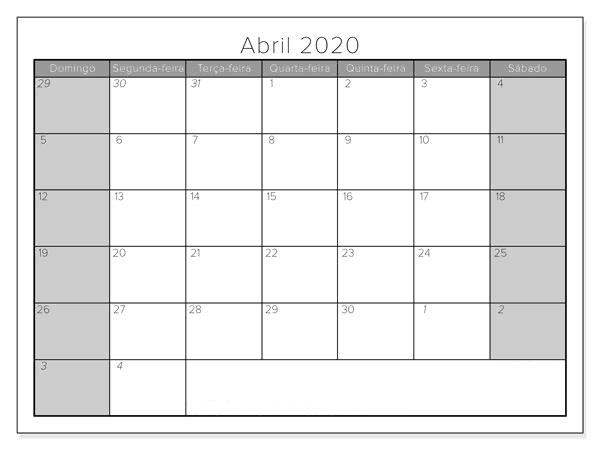 Mês Calendário Gratuito Abril 2020