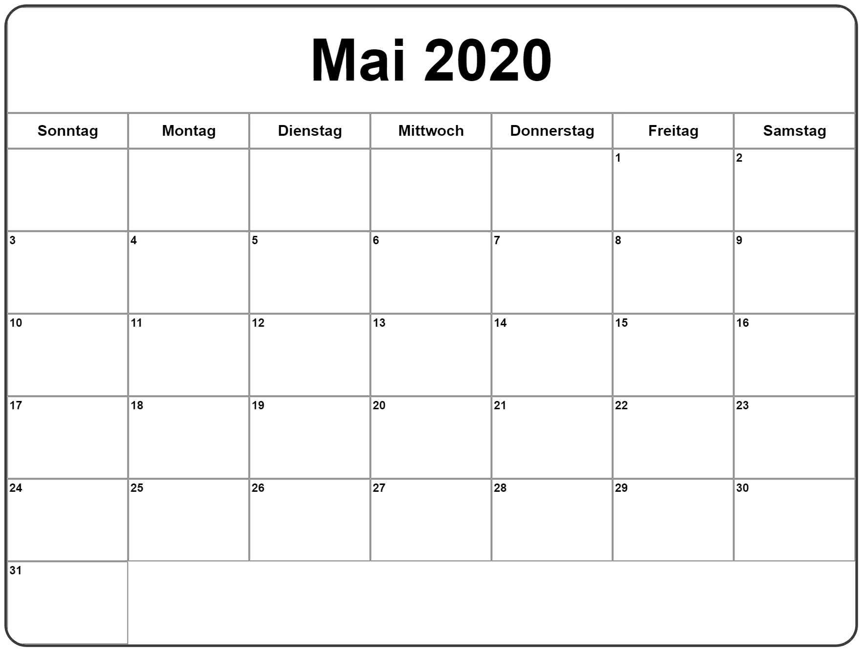 Mai 2020 Kalender Tabelle