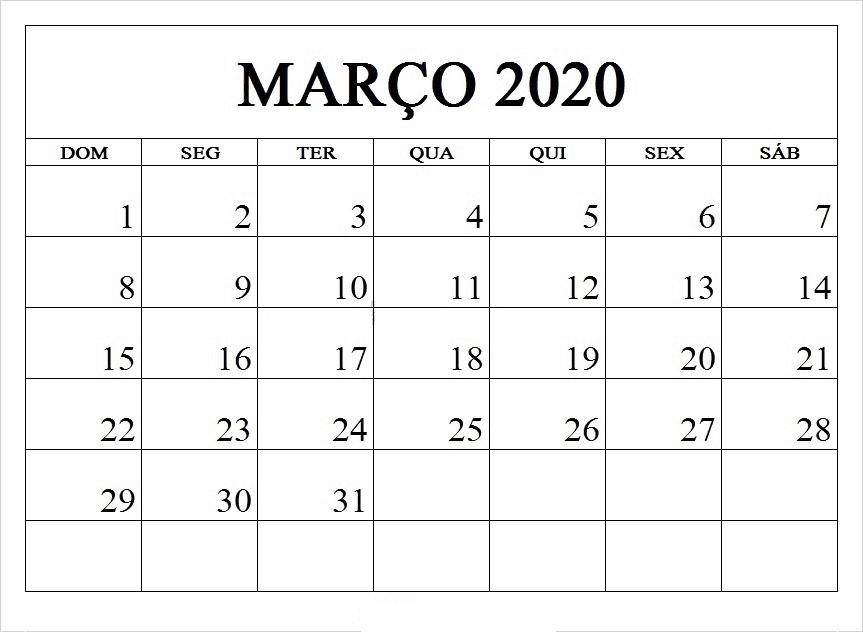 Março 2020 Calendario Excel