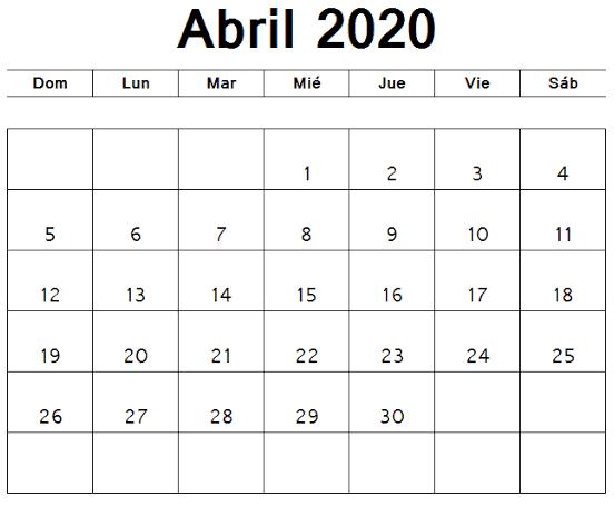Modelo Calendario Abril 2020 Argentina