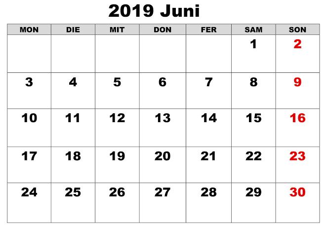 Zeitplan Kalender Juni 2020 Zum Ausdrucken