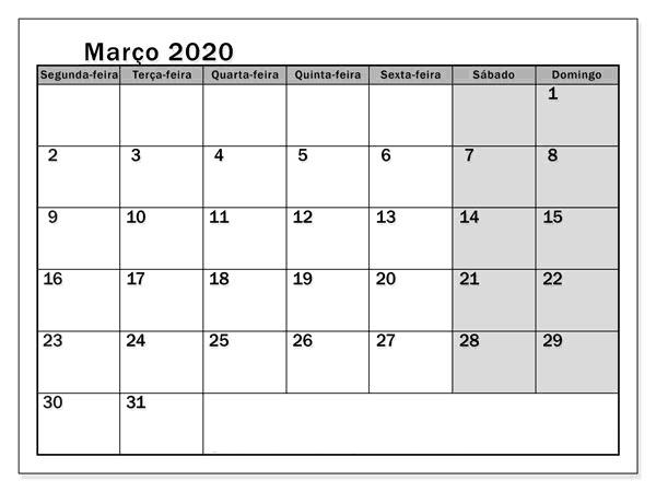 calendario Marco 2020 Macau