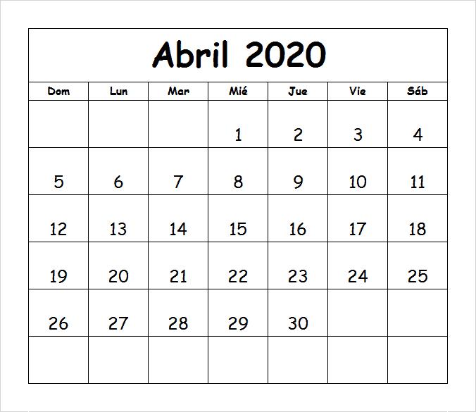 Calendário 2020 Abril Gratuito