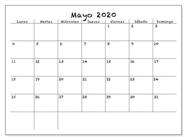 Calendário 2020 Abril Modelo