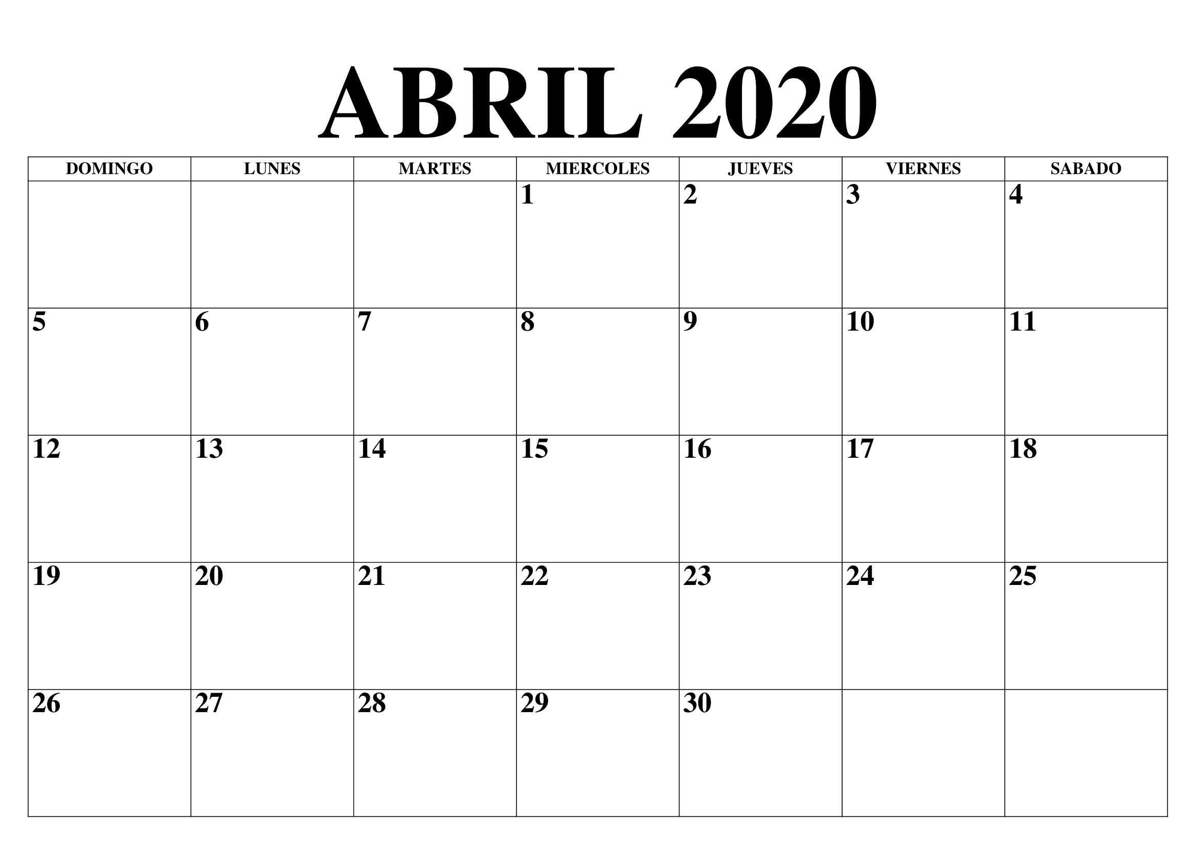 Calendário 2020 Abril