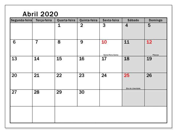 Calendário Gratuito Abril 2020 Portugal