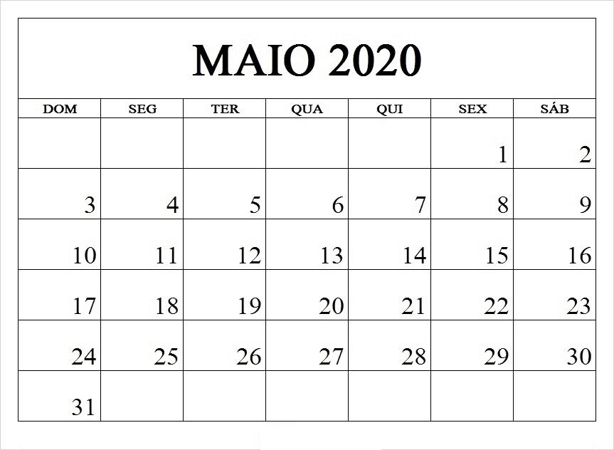Calendário Maio 2020 Excel