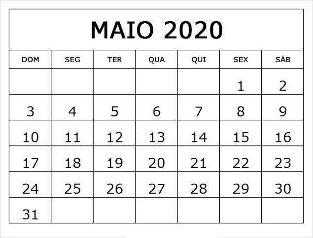 Calendário Maio 2020 Imprimir