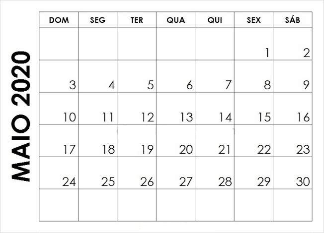 Calendário Maio 2020 Imprimir Feriados