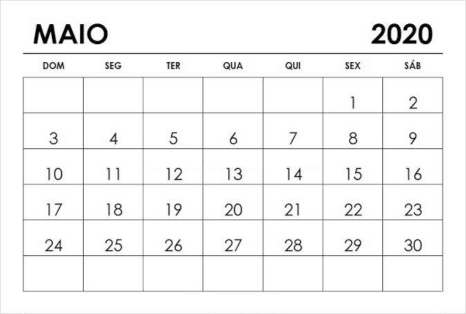 Calendário Maio 2020 Imprimir Imagens