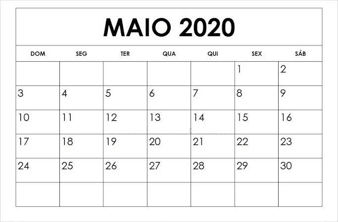 Calendário Maio 2020 Imprimir Livre
