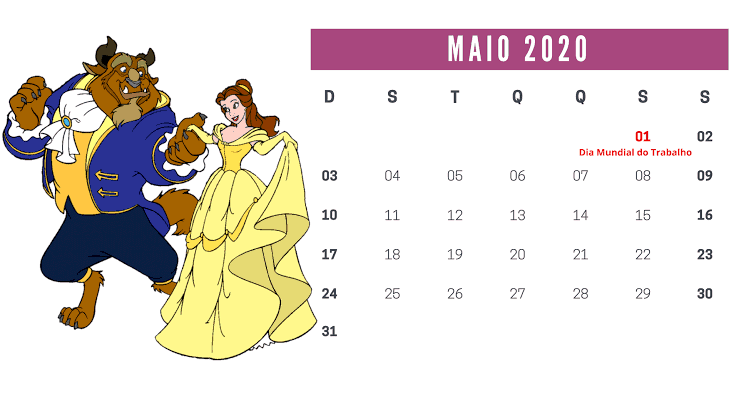 Calendário Maio 2020 Imprimir Notas