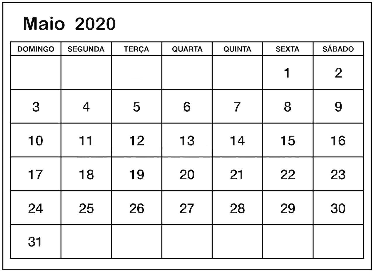 Calendário Maio 2020 Modelo