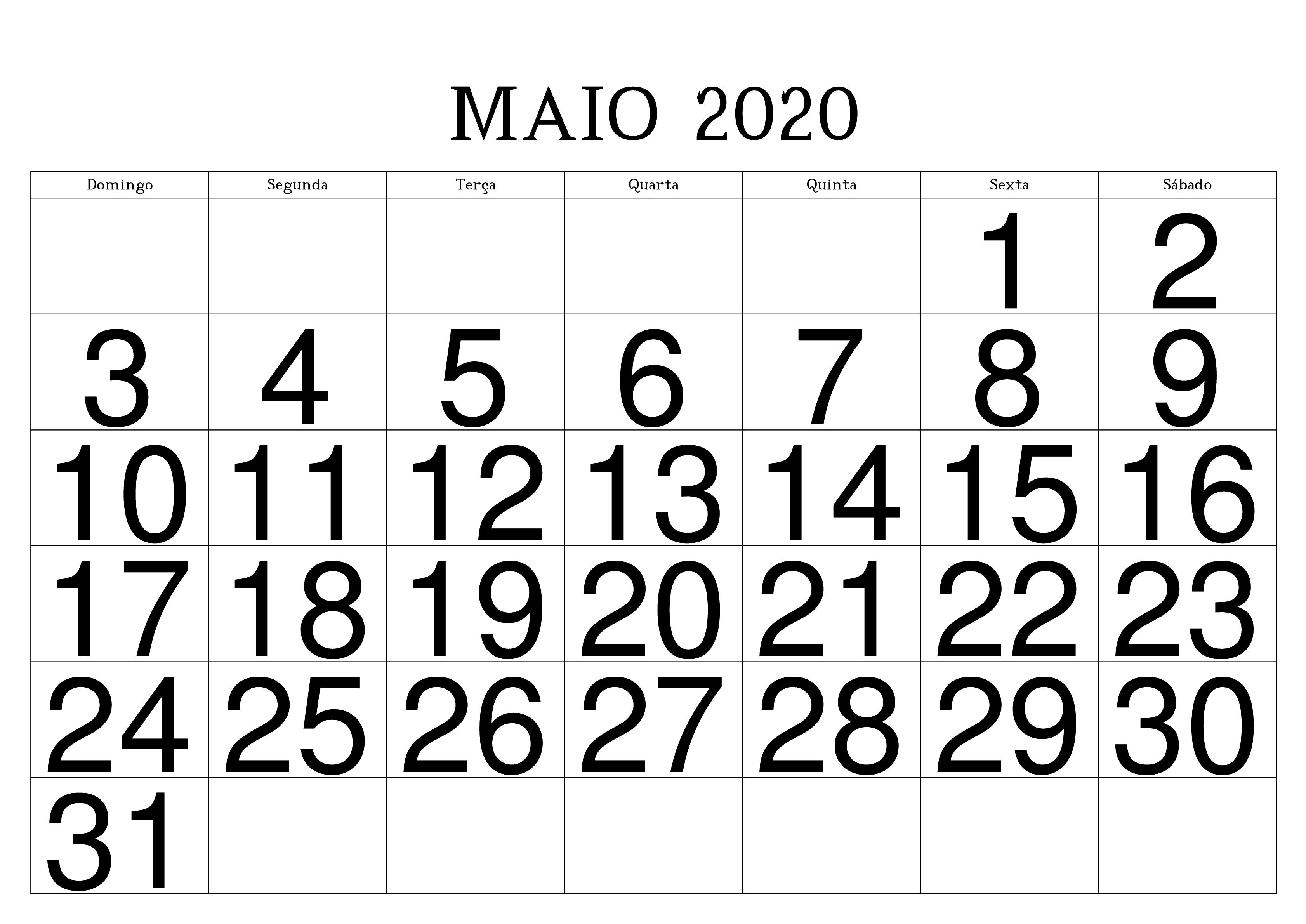 Calendário Maio 2020 Para Imprimir Editável